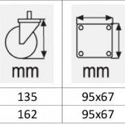 Točkovi za kolica   SIVI termoplastik sa KOČNICOM-OKRETNI